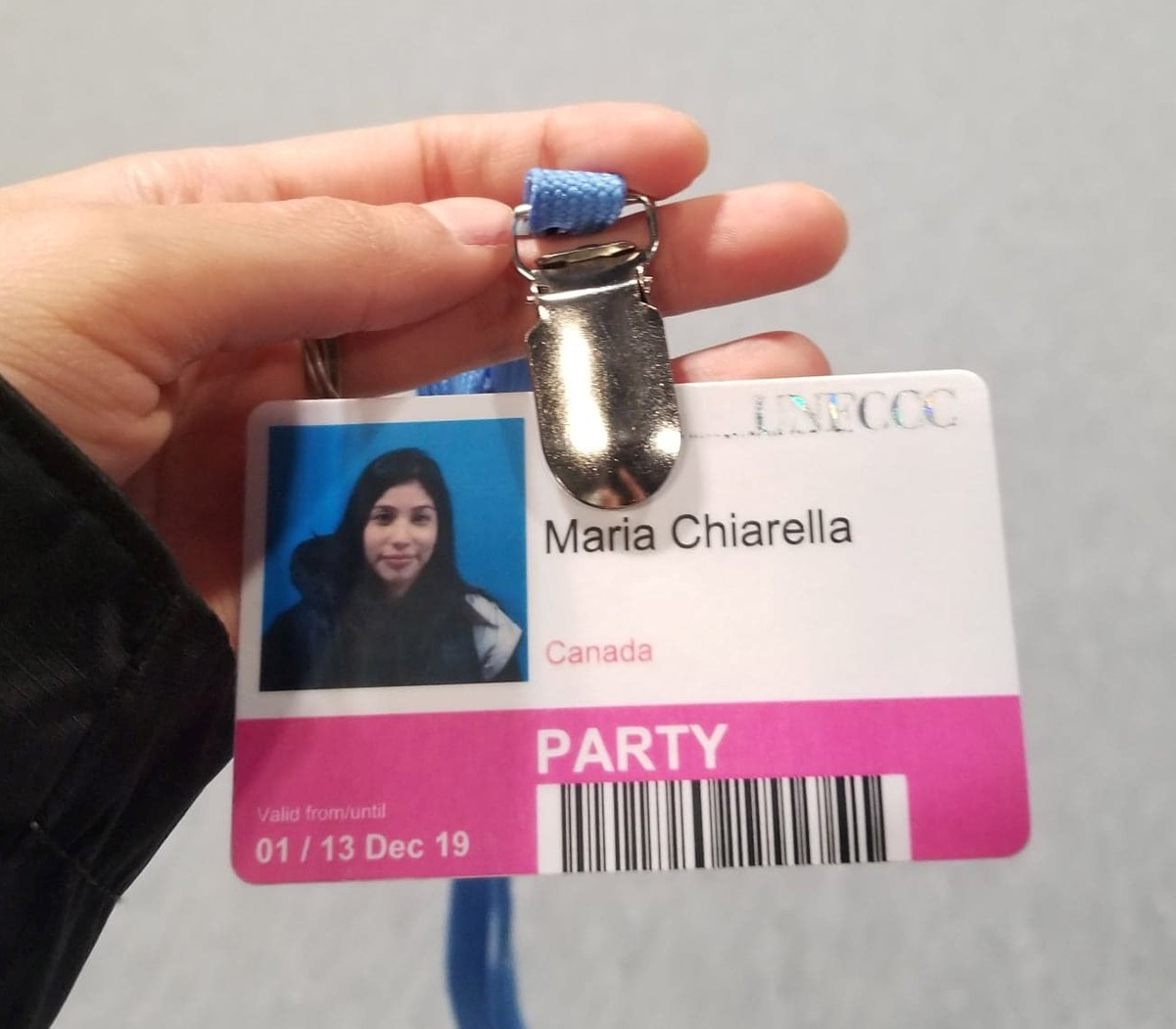 A badge showing Maria's picture, name and access level