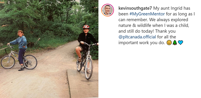 screenshot of Kevin's instagram post that features himself and his Aunt cycling together on a dirt road.