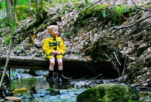 Young boy in yellow raincoat sitting on a log over a stream in the forest.
