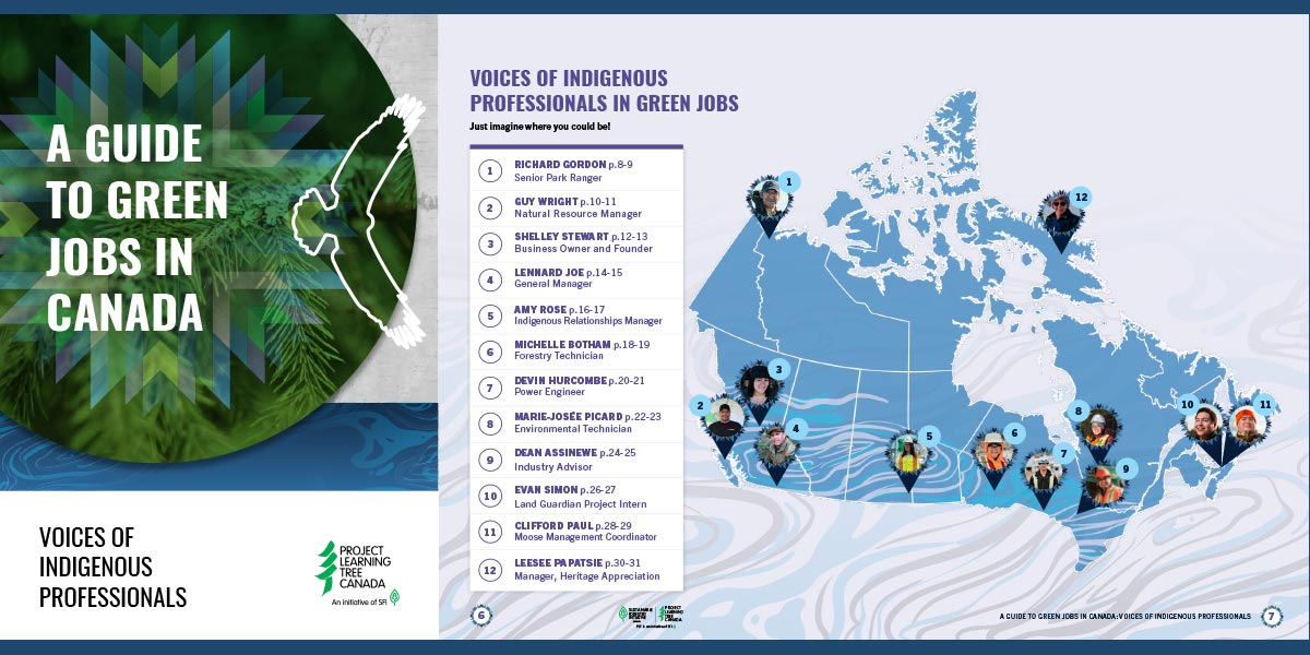 cover of the green jobs guide and map of profiles
