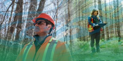 man and woman in high visibility vests in the forest