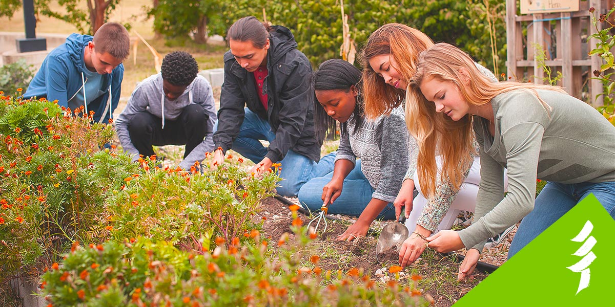 back to school banner image of youth gardening