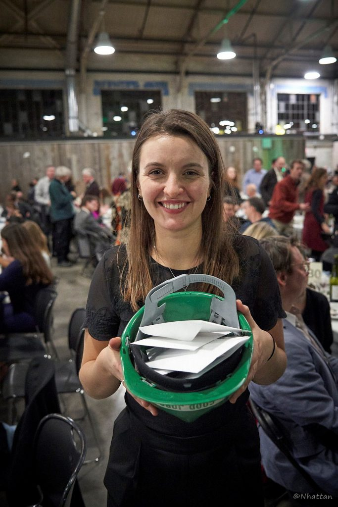Emilie Grenier, Ecology Ottawa's Climate Change Campaign Organizer at Ecology Ottawa, collecting donations at the not for profit's annual fundraiser in 2019.