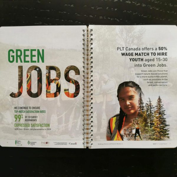 2020 Annual Report page with Green Jobs graphic