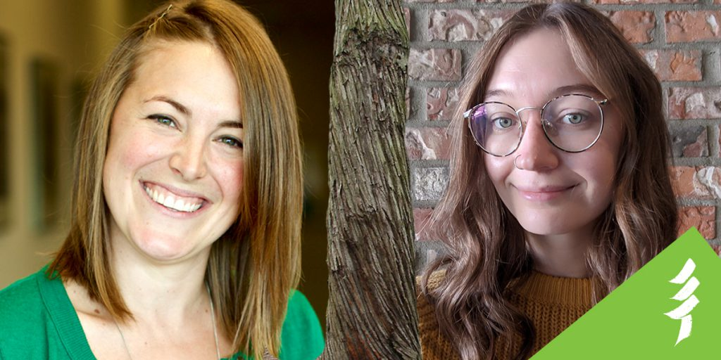 Molly and Maleen's headshots, separated by a tree trunk