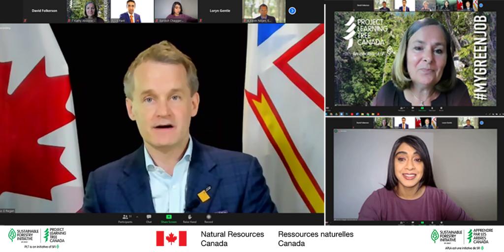 Le ministre des Ressources naturelles, Seamus O'Regan (à gauche), a annoncé le Programme de stages en sciences et en technologie lors d'une conférence de presse en ligne le 30 juin en compagnie de Bardish Chagger, ministre de la Diversité et de l'Inclusion et de la Jeunesse (en bas à droite), Kathy Abusow, présidente-directrice générale d'APLA Canada (en haut à droite), et d'autres organismes de prestation de services.