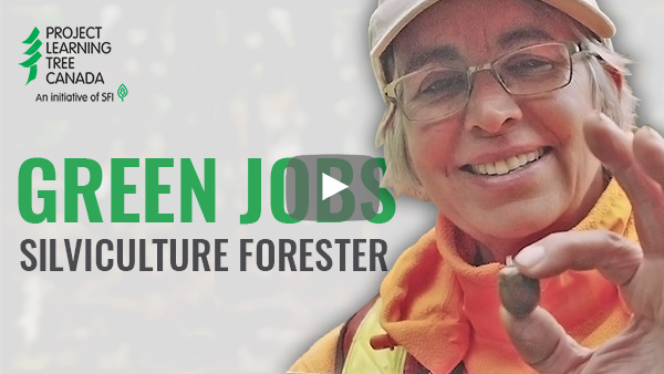 title card featuring cutout of Andrée with Green Jobs title in green