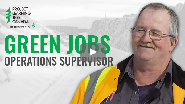 title card featuring cutout of Michel with Green Jobs title in green