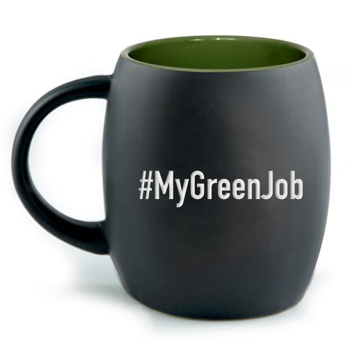 black ceramic mug with #MyGreenJob hashtag