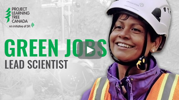 title card featuring cutout of Udaya with Green Jobs title in green