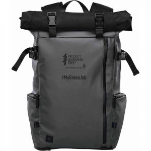 grey backpack with PLT Canada logo